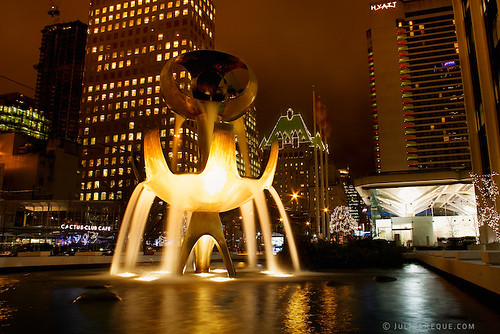 Tonight in Vancouver: Aliens Landing | Bentall One water fountain