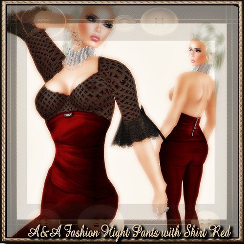 A&A Fashion Hight Pants with Shirt Red