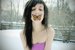(i'm a witch) Tags: winter white snow self butterfly front explore page silenceofthelambs