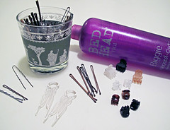 hair styling tools+bobby pins+hair spray