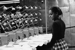 A young African American woman watches at least seven sewing machines working simultaneously.