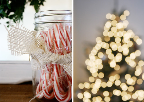 candy canes, lights