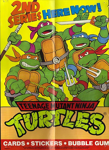 "TOPPS :: Teenage Mutant Ninja Turtles - "" 2ND SERIES HERE NOW ! "" // TMNT 2nd Series Trading Card - Shop poster (( 1990 ))"