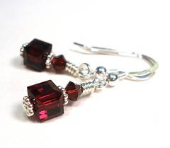 Red Garnet Cube Sterling Silver Earrings (lauwil243) Tags: birthday wedding silver crystals crystal under january jewelry valentine womens gifts gift bridesmaid valentines sterling swarovski earrings 20 bridal garnet birthstone designsbylaurie