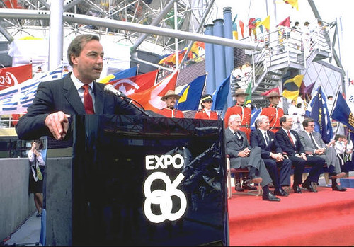 BC Premier Bill Bennett invited the world to visit Vancouver and BC for Expo 86 on May 02, 1985, one year before the exposition was to open.