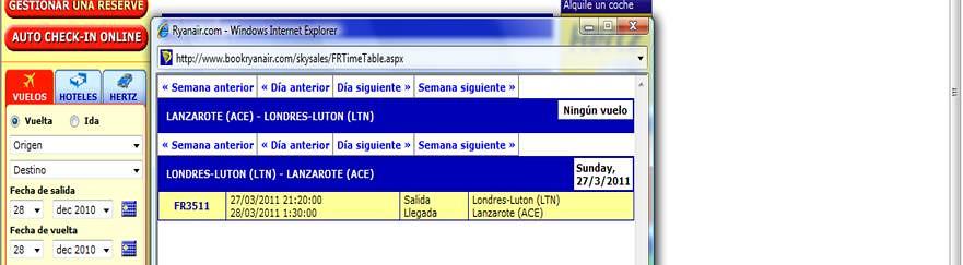 Horario Lanzarote-Luton