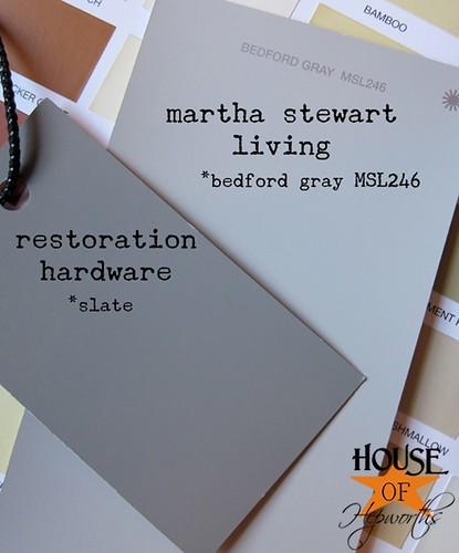 Great gray paint color combo. See pictures painted with these colors. Martha Stewart, Restoration Hardware, Bedford Gray, Slate, living room, painting. www.houseofhepworths.com