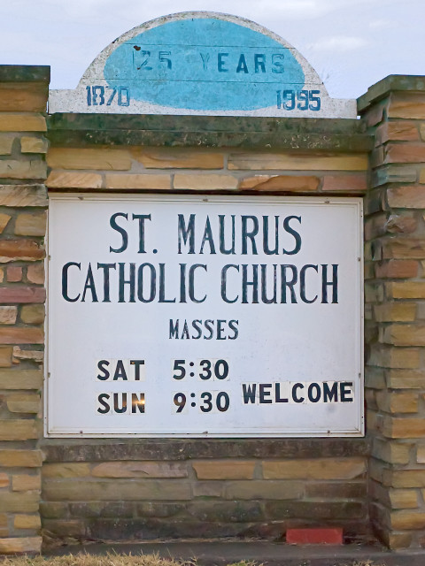 Saint Maurus Church, in Biehle, Missouri, USA - sign