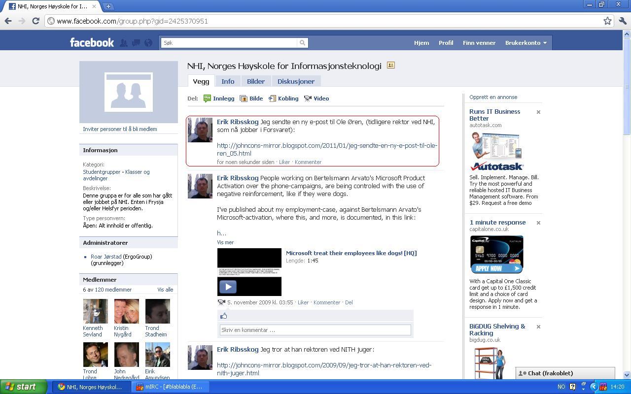 jeg oppdaterte på nhi sin facebook side