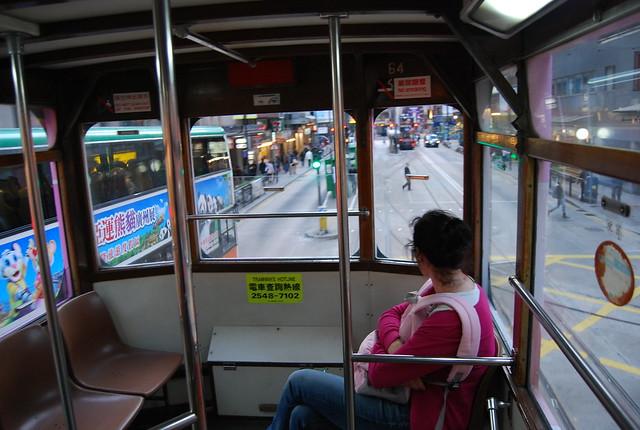 Vero en el tranvía de Hong Kong