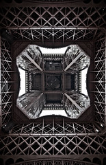 The Eiffel Tower, bottom view.