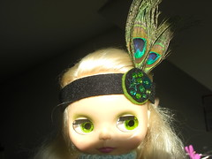 Green love, peacock feather headband