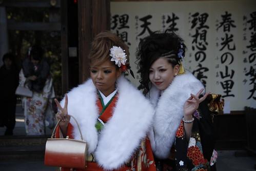 Ganguro girls in kimono