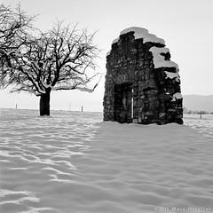 Ruins in snow  (1637) (M a r c O t t o l i n i) Tags: door winter bw snow 6x6 film nature square switzerland suisse kodak tmax hiver nb mf porte neige tmax100 carré planar vaud hasselblad500cm 100tmx vuescan epsonperfectionv700 planar2880mm marcottolini