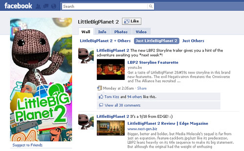 LittleBigPlanet 2 Facebook page