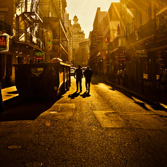 and we'll walk in the sun (red.dahlia) Tags: men silhouette day shadows jester neworleans 1988 streetphotography clear frenchquarter nola sundrenched springsteen bourbonst borntorun acousticversion mangodaquirisandpizzabytheslice orangesandgolds