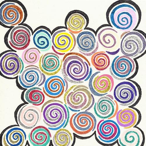 Swirly gig, Gel ink on card half A6 - Copyright R.Weal 2011