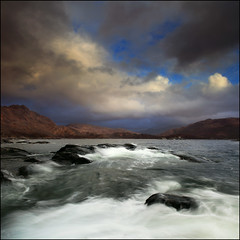 Loch Nan Uamh (angus clyne) Tags: sea storm west beach wet water rock coast scotland highlands high tide north wave windy atlantic hills loch nan swell onde arisaig umah lochailort roadtotheisles colorphotoaward vertorama