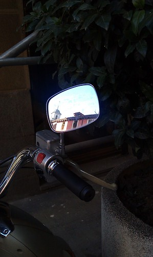 Church in a Vespa mirror, Madrid