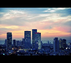 Pastel dusk over the darken city (Violet Kashi) Tags: city sunset sky architecture clouds buildings photography lights israel telaviv twilight skyscrapers dusk pastel צילום תלאביב