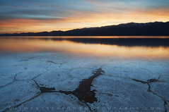 Last Light of Badwater - Death Valley National Park, California (Jim Patterson Photography) Tags: california travel winter light usa mountains nature reflections landscape patterns salt scenic basin valley badwater saltpan furnacecreek deathvalleynationalpark inyocounty lakemanley jimpattersonphotography jimpattersonphotographycom seatosummitworkshops seatosummitworkshopscom