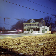 Greenwood (Daniel Regner) Tags: county blue light sky usa green 120 tlr film dan night analog lens evening reflex md cornfield focus long exposure very kodak no daniel beef c release tripod january trails twin greenwood maryland baltimore pit iso shutter medium format 100 manual asa framing pike streaks yashica rd harford ektar 2011 regner tumblr