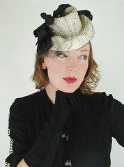 30s-40s Vintage Off-White Doll Tilt Hat with Black Ribbons (denisebrain) Tags: dollhat tilthat 40shat 30shat
