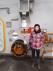 Anna at the Ark Royal bell (Seanathon) Tags: boat ship historic portsmouth aircraftcarrier arkroyal dockyard hmsvictory