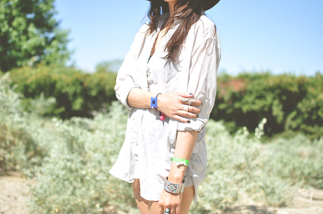 Acne blouse, American Apparel floppy hat