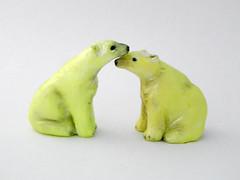 Glow in the Dark Polar Bears (Touchstone Creations) Tags: glowinthedark polarbear whitebear northpole ursusmaritimus polarbears miniature handsculptedpolarbear polymerclaybear polymerclay polymer snowbear