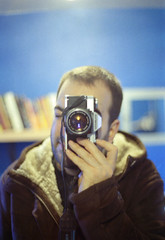 Goodbye OM20! (Back, and to the left) Tags: blue man film analog self 35mm beard bathroom mirror ebay dof kodak iso400 f14 50mm14 wintercoat omg zuiko stubble om20 olympusom flickr:user=backandtotheleft tumblr:user=thediaryofadisappointingman