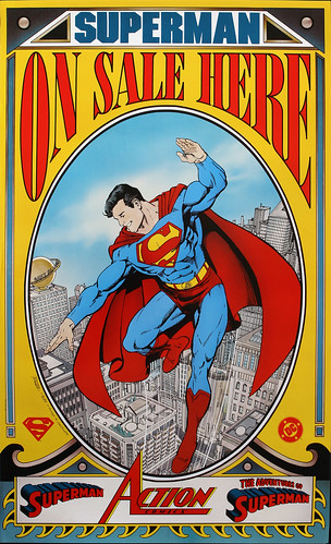 DC Comics promotional poster - Superman on sale here - 1989