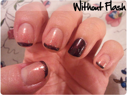 Black French Tip with Red Glitter