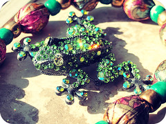 Frog Brooch (Mrs. Danica) Tags: blue color green colors photography shiny colorful pretty pin gorgeous brooch frog sparkle
