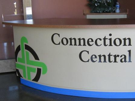 Connection Central kiosk cut vinyl lettering and logo, 12-PointSignWorks, Franklin TN