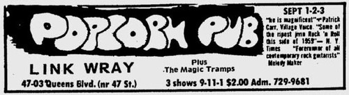 09/ 01-02-03 /72 Link Wray/Magic Tramps @ Popcorn Pub, Queens, NYC, NY