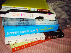 My Happy Reading Stack (pineappleupsidedown) Tags: book books nicolekrauss sophiekinsella meganmccafferty thehistoryoflove theperksofbeingawallflower stephenchbosky joshuaharris readingstack fourthcomings minishopaholic dugdowndeep