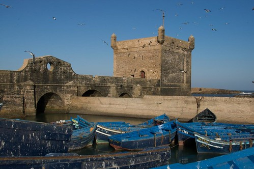 Photo of the old Skala of Essaouira and the fishing port