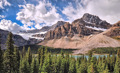 Beauty in Bow Valley (Jeff Clow) Tags: lake canada raw glacier moutains albertacanada banffnationalpark icefieldsparkway bowlake canadianrockies bowvalley crowfootglacier 1exp