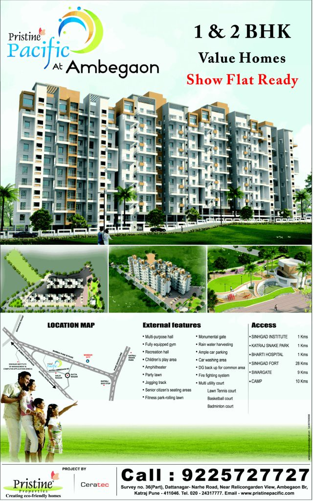 Pristine Pacific -1 BHK & 2 BHK Flats at Ambegaon - Katraj Pune - 411 046 (Page 2 of 2 Full Pages Lunch Ad on  29-1-2011)