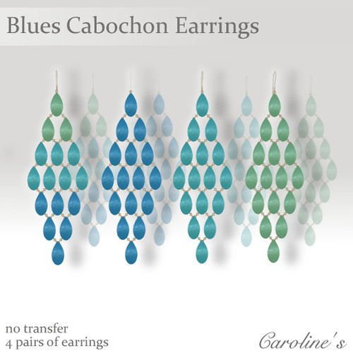 Caroline's Jewelry Cabochon Earrings - Blues