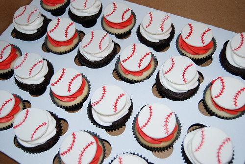 Baseball cupcakes for little league party