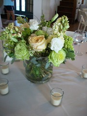 Beach Wedding Centerpiece - Floral (azaleafloraldesign) Tags: green beach peach gardenroses