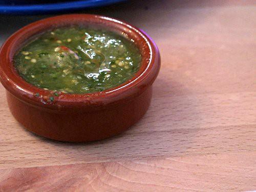 tomatilla salsa, rice & beans