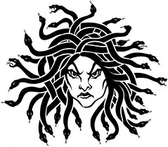 MEDUSA (Black Crown . tribal) Tags: blackandwhite art dark skull design drawing snake air tribal tatoo