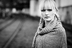 To the place where I can find peace again (neygraphie) Tags: portrait beauty eyes dof outdoor availablelight 85mm sw blacknwhite schwarzweiss schienen katha lifehouse