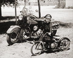 Indian Motorcycle Gal (newmexico51) Tags: old girl hat vintage found miniature costume child indian photograph motorcycle indianmotorcycle