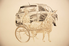 Trade-In (Sarah Jane and that's all.) Tags: family portrait girl drawing goat portraiture transportation toyota rav4 graphite goatcart