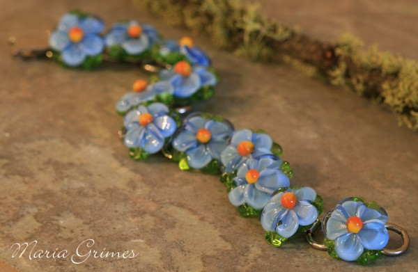 Forget me not lampwork