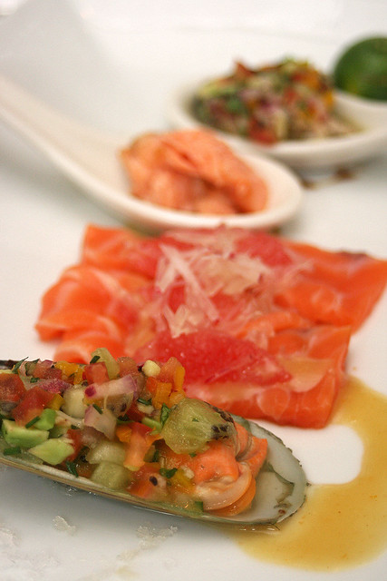Oceanic plate from Marlborough - Raw NZ king salmon with grapefruit, radish and miso, green shell mussel with VNC Pacific Mai Tai, cilantro, kiwi and avocado salsa